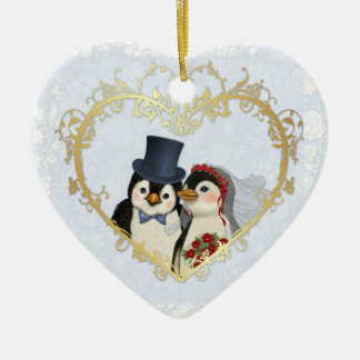 Penguin Wedding Heart - Customize back text Ceramic Heart Decoration