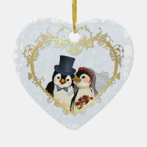 Penguin Wedding Heart - Customize back text Christmas Ornaments