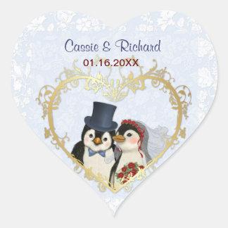 Penguin Wedding Heart - Customize Heart Stickers