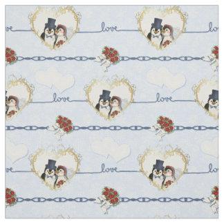 Penguin Wedding Hearts On Blue Fabric