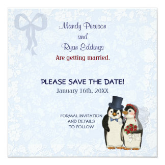 Penguin Wedding - Save the Date Card