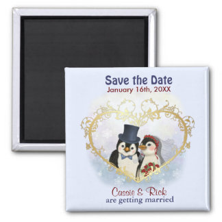 Penguin Wedding Save the Date Square Magnet