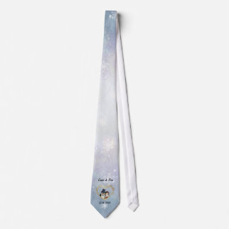 Penguin Wedding Snowflake Pattern - Customize Tie