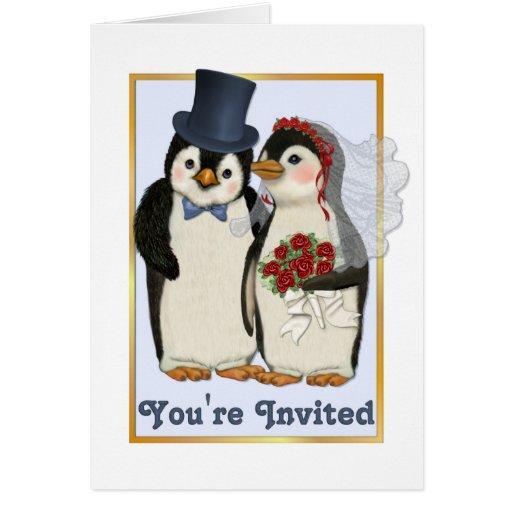 penguin wedding youre invited card zazzle