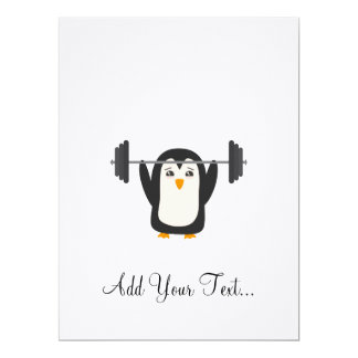 Penguin Weightlifting 17 Cm X 22 Cm Invitation Card