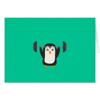 Penguin Weightlifting Greeting Card