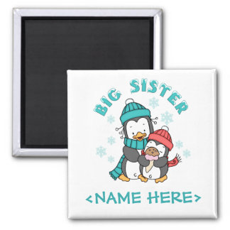 Penguin Winter Big Sister Square Magnet