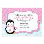 Penguin Winter Custom Birthday Party Invitations
