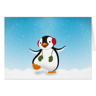Penguin Winter Illustration - Greeting Card