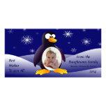 Penguin Winter Scene Customised Photo Card