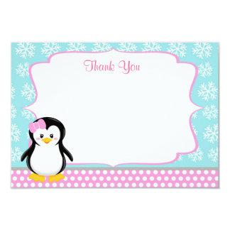 Penguin Winter Snowflake Thank You Cards 9 Cm X 13 Cm Invitation Card