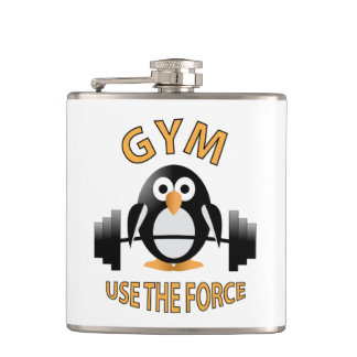 Penguin with a barbell hip flask