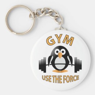 Penguin with a barbell key ring