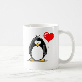 Penguin with a heart balloon basic white mug