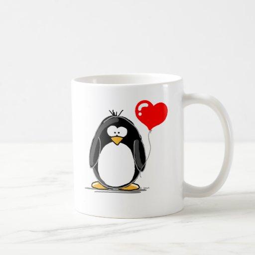Penguin with a heart balloon mug