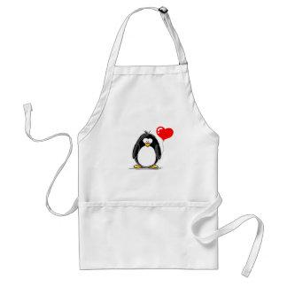 Penguin with a heart balloon standard apron