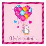 Penguin with Balloons Birthday Party Custom Invitation