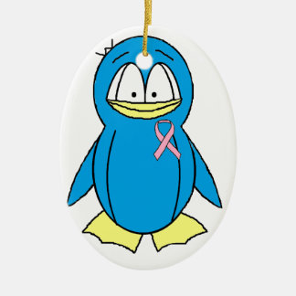Penguin with Breast Cancer Awareness Pink Ribbon Christmas Ornament