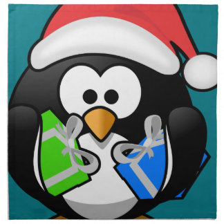 Penguin with Gifts Cloth Napkins
