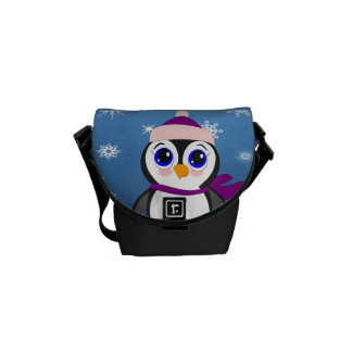 Penguin with  Hat Messenger Bag