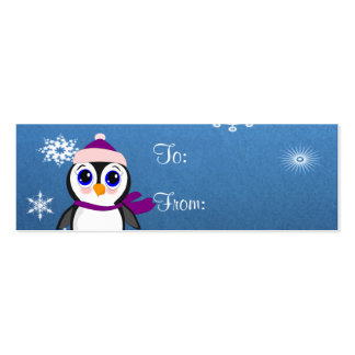 Penguin with  Hat Pack Of Skinny Business Cards