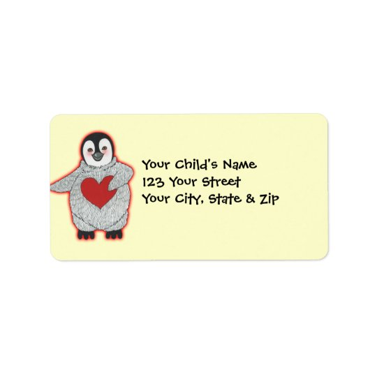 Penguin with Heart Address Label