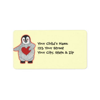 Penguin with Heart Label