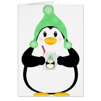 Penguin with Hot Cocoa Greeting Card