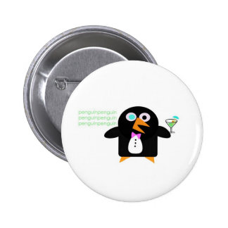 penguin with martini 6 cm round badge