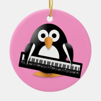 Penguin with piano christmas ornament