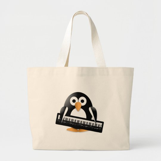Penguin with piano large tote bag