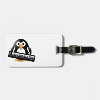 Penguin with piano luggage tag