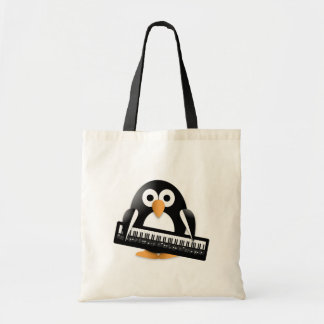 Penguin with piano tote bag