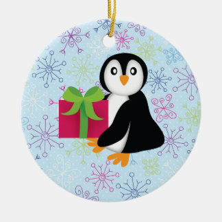 Penguin with Present Ornament