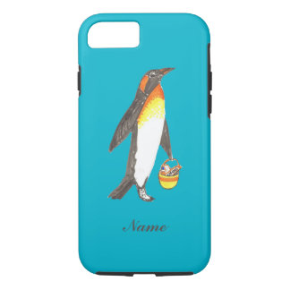 Penguin with shopping bag, full of chocolate bars iPhone 7 case