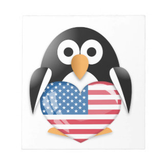 Penguin with USA flag Notepads