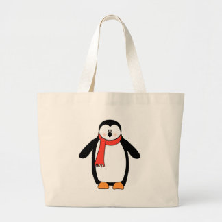 Penguin Wrapped in Red Scarf Large Tote Bag