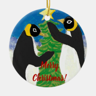 Penguine Christmas Circle Ornament