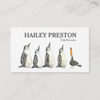 Penguins and a Toucan Looking Up Business Card