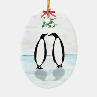 Penguins and Mistletoe Holiday Ornament