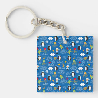 Penguins and Sailors Double-Sided Square Acrylic Key Ring