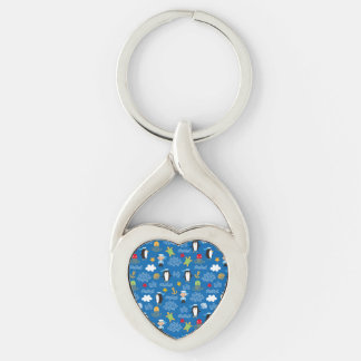 Penguins and Sailors Silver-Colored Twisted Heart Key Ring