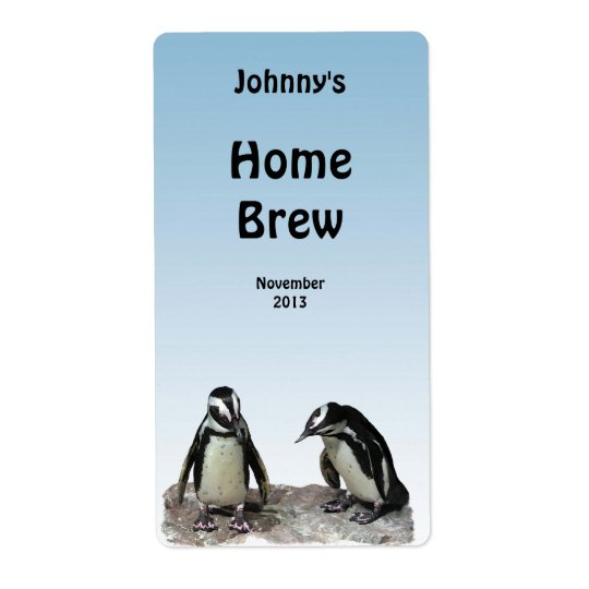 Penguins Beer Label Shipping Label