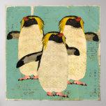 Penguins Blue Lagoon Art Poster