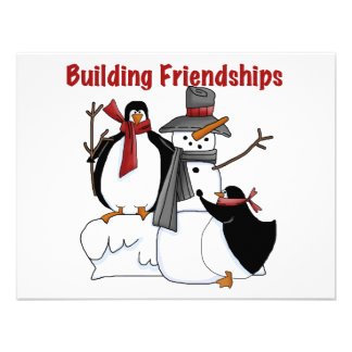 Penguins Building Friendship tshirts and Gifts Invite