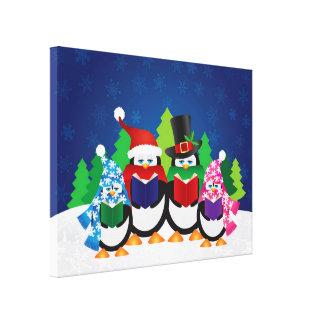 Penguins Christmas Carolers at Night Canvas Canvas Print