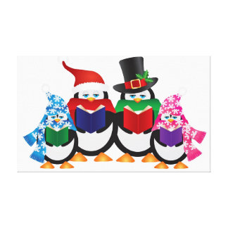 Penguins Christmas Carolers with Hats and Scarfs Stretched Canvas Print