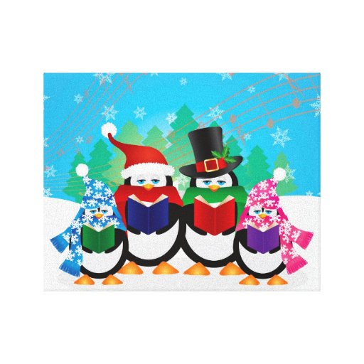 Penguins Christmas Carolers with Hats and Scarfs Gallery Wrap Canvas