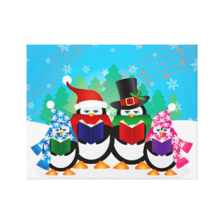 Penguins Christmas Carolers with Hats and Scarfs Canvas Prints