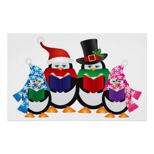 Penguins Christmas Carolers with Hats and Scarfs Posters